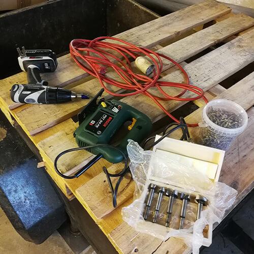 Werkzeug für Paletten Deko